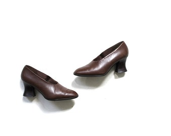 Vintage Leather Heels 6.5 / Brown Leather Heels / Block Heel Pumps