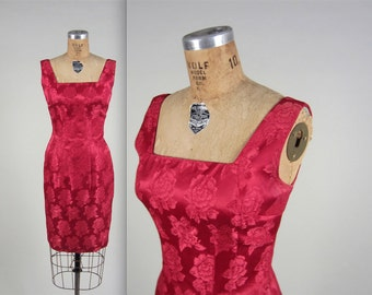 1960s raspberry brocade dress • vintage 60s dress • evening wiggle dress