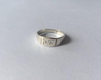 Vintage engraved JF monogram ring