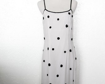 vintage 80s polka dot dress / 2 piece set, black and white spots, sequins, formal strappy dress, matching long sleeve jacket, sheer gauze