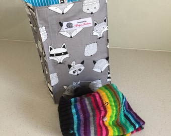 Grey Raccoons - knitting project bags