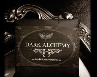Dark Alchemy Soap 3.5oz  Hand Milled Natural Artisan Herbal  Rose de Mai,Clove,Dragon's Blood,Elderberry,Strawberry,Sage,Cinnamon,Sandalwood