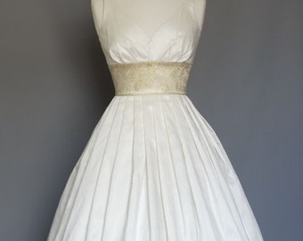 UK 8 Ivory Silk Dupion Sweetheart Evening Dress with Vintage Gold Brocade Waistband - Made by Dig For Victory