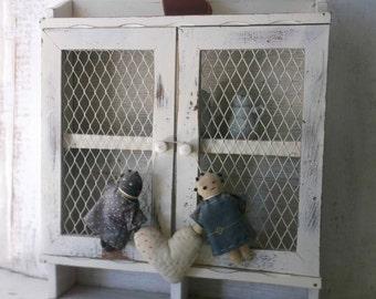 Shabby Chic Cottage Shelf. White Rustic Curio w Doors. Painted Shabby Cottage Wall shelf. Kitchen. Bath. Nursery