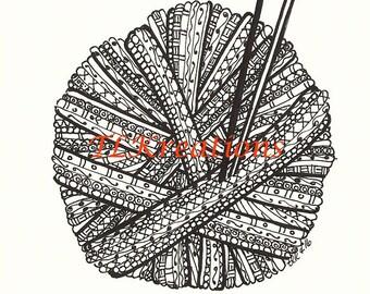 Yarn Ball Zentangle