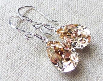 Champagne Swarovski Crystal Earrings, Silk Rhinestone Pear Earrings, Sterling Silver Teardrops, Bridesmaid Gifts, Wedding, Gift for Her