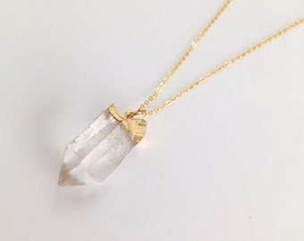 Raw Quartz Necklace, Quartz Necklace, Crystal Necklace