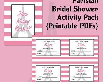 Parisian Bridal Shower 2 Printables | Activities | PDF | Paris | Eiffel Tower | French | Pink and White | Bride and Groom