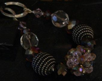 Purple necklace, black necklace, crystal necklace, leather necklace, bold necklace, chunky necklace, boho necklace, statement necklace