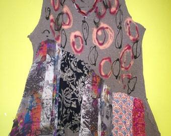 Hand painted cotton thermal vest fits XL 1X 2X