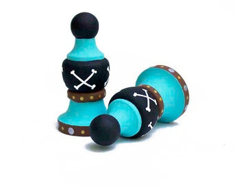 Finials - Pair of Custom Hand Painted Finials for Curtain Rod - Pirate or Any Theme