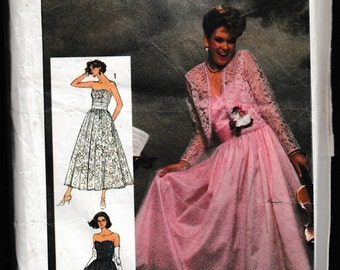 Simplicity 7420 Misses' Adjustable Fitted Bodice Evening Dress and Jacket