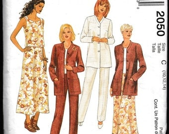 Easy McCall's 2050 Misses' Jacket, Top,Skirt and Pants