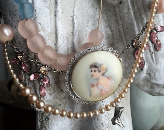 SOLD to Jan - maiden's ball - triple layer necklace with portrait pendant by the french circus