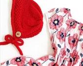 Baby Bonnet, Knit Bonnet, Toddler Bonnet, Baby Hat, Vintage Baby Bonnet, Winter Baby Hat, Winter Accessory