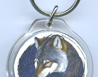 Wolf Raven Crow White Wolf Key Chain