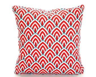 OUTDOOR Pillow Cover, Coral Aqua White Pillow Covers, Cushions, Lalo Calyspo Redish Coral Patio Pillows, Beach Decor, One or More ALL SIZES