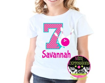 Bowling Birthday Shirt or Bodysuit Personalized With Any NAME and AGE