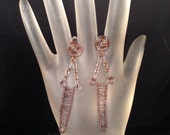 Antique Copper Hand Woven Post Earrings,  One of a Kind, 2.5 Inches Long Previously 22 Dollars ON SALE