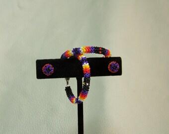 Native beaded hoops w/ post earrings