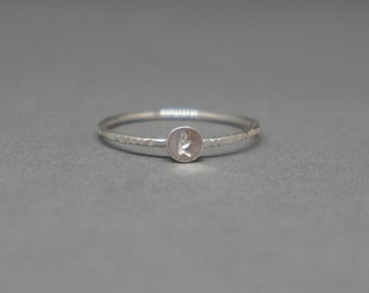 initial ring - tiny alphabet ring - tiny personalized initial - lowercase letter ring - MADE TO ORDER