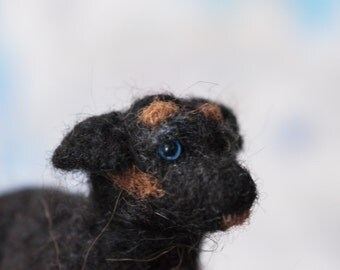 Needle felted Rottweiler Puppy - cute realistic animal sculpture