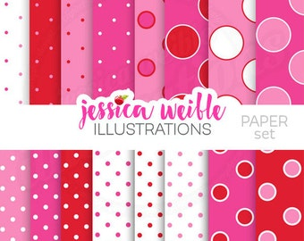 So Dotty Valentine Cute Digital Papers, Commercial Use, Valentine backgrounds, pink Polka Dot papers, Red Polka Dot Papers, pattern