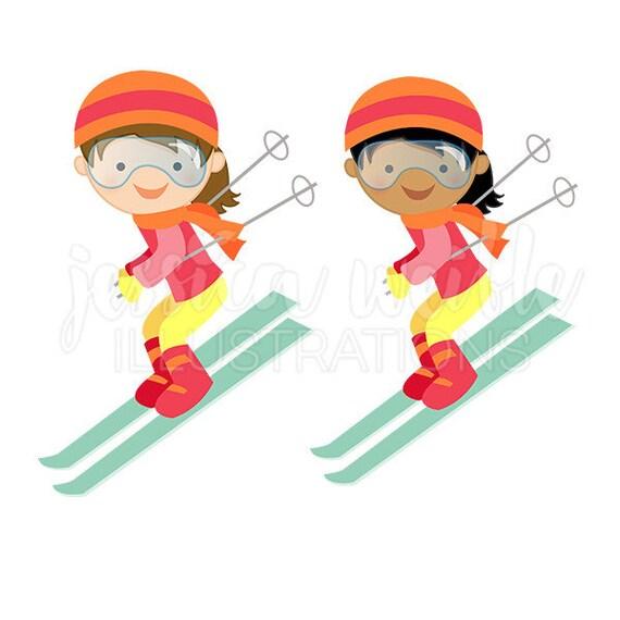 Girl Downhill Skier Cute Digital Clipart Winter Skiing Clip