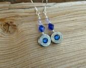 Winchester 40 Caliber Bullet Earrings,  Blue Crystal Bullet Earrings, Winchester 40 S&W Blue Crystal Silver Earrings, Blue Bullet Earrings