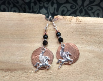 Copper Pegasus Earrings, Copper Penny Black Pegasus Sterling Silver Earrings, Pegasus Sterling Earrings, Black Penny Pegasus Earrings