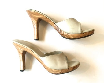 RESERVED Mod Mules 60s Wooden Platform Heels | Slingback Pumps | Naughty but Nice, 6 36