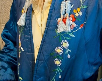 Vintage Quilted Blue Asian Inspired Jacket // 1960s