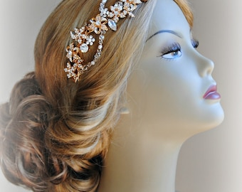 Gold Crystal Hair Vine with Pearls, Wedding Headband, Bridal Headpiece - AURELIA