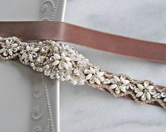 "Pearl & Crystal Skinny Sash, Taupe Bridal Sash, Skinny Wedding Belt with 12.5"" of Swarovski Rhinestones, Custom Colors - COCO"