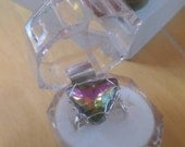 Vibrant rainbow triangle wire wrapped adjustable statement ring