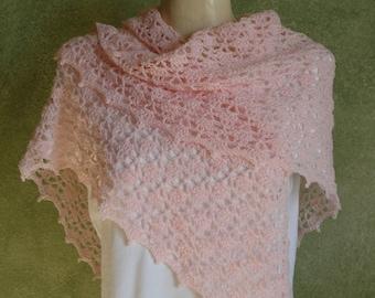 Pale Pink Crocheted Lace Shawl Shoulder Wrap Handmade by Lynne Bridal Shawl