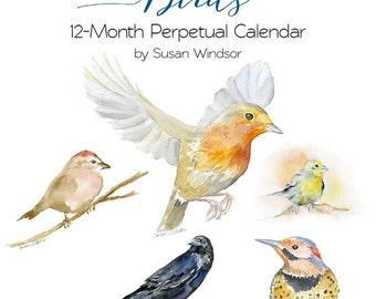 Perpetual Calendar - Birthday Calendar Watercolor Birds - 12 Month - Anniversary Calendar 5.5x8.5