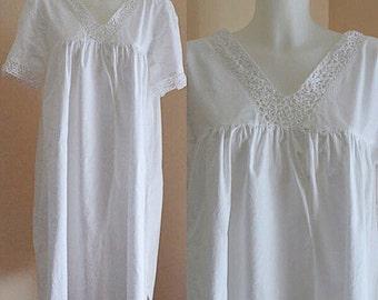 Vintage White Cotton Nightgown, Vintage Cotton Nightgown, Nice'n Comfy, White Cotton Nightgown, Vintage Nightgown, Cotton