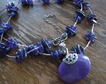 Purple beaded necklace | chunky statement | bohemian | pendant | stone