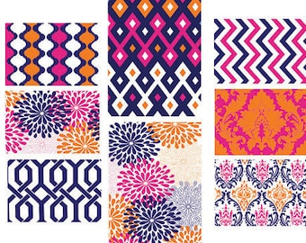 Damask chevron Art Gallery -Set of 8 ( 6) 5x7 (2) 8x10- Prints -Custom colors can be changed !  Damask /geometric pattern Coral Pink Navy