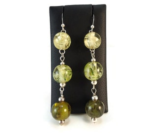 Long Green Dangle Earrings Beaded, Yellow and Green Earrings Resin Beads and Sterling Silver, Yellowish Green Jewelry Gift For Women Friends