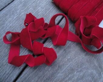 """3 Yards 5/8"""" wide (16 mm) plush Dark Red lingerie velvet elastic / stretch velvet elastic trim ST"""