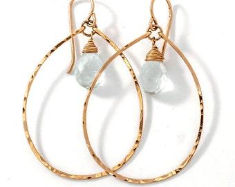 Pale Blue Aquamarine Hoop Earrings - Aquamarine Droplette Hoops - Delicate Hammered Oval Gold Hoops with Blue Aquamarine Gemstone