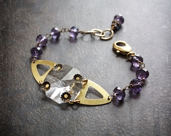 Amethyst Crystal Rosary Chain Bracelet with Octagon Chandelier Crystal Focal and Raw Brass Elements
