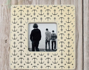 Anchors Away Picture Frame,  Photo Frame, Picture Frames, Nautical, Modern, Sailboat, Unique Frames, decor,Anchor, Lake House, Cottage