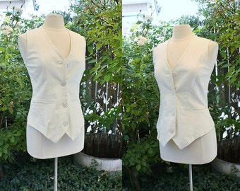 1990's White Linen Vest Jones Small Vintage Retro 90s Waist Coat Classic Traditional Hipster Theatre Costume Play