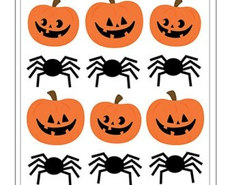 Pebbles BOO! Collection Puffy Stickers PUMPKINS & SPIDERS