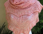 Pink Golly Molly Pure Merino Wool Fingering Weight Crescent Shaped Lace Shawl or Shawlette