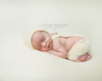 Knit Mohair Newborn Romper and Bonnet Set - Knit Mohair Alpaca - Natural Coconut Wood buttons - Photography Prop