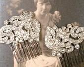 Antique Art Deco Bridal Hair Comb Pair, Art Nouveau Rhinestone Flower Leaf Hair Piece 1920s 1930 Silver Vintage Wedding Dress Clip Headpiece
